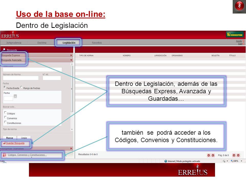 Uso de la base on-line: Dentro de Legislación. Dentro de Legislación, además de las Búsquedas Express, Avanzada y Guardadas… también se podrá acceder