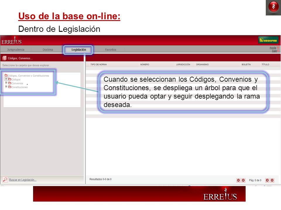 Uso de la base on-line: Dentro de Legislación. Cuando se seleccionan los Códigos, Convenios y Constituciones, se despliega un árbol para que el usuari