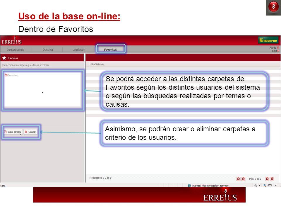 Uso de la base on-line: Dentro de Favoritos. Se podrá acceder a las distintas carpetas de Favoritos según los distintos usuarios del sistema o según l