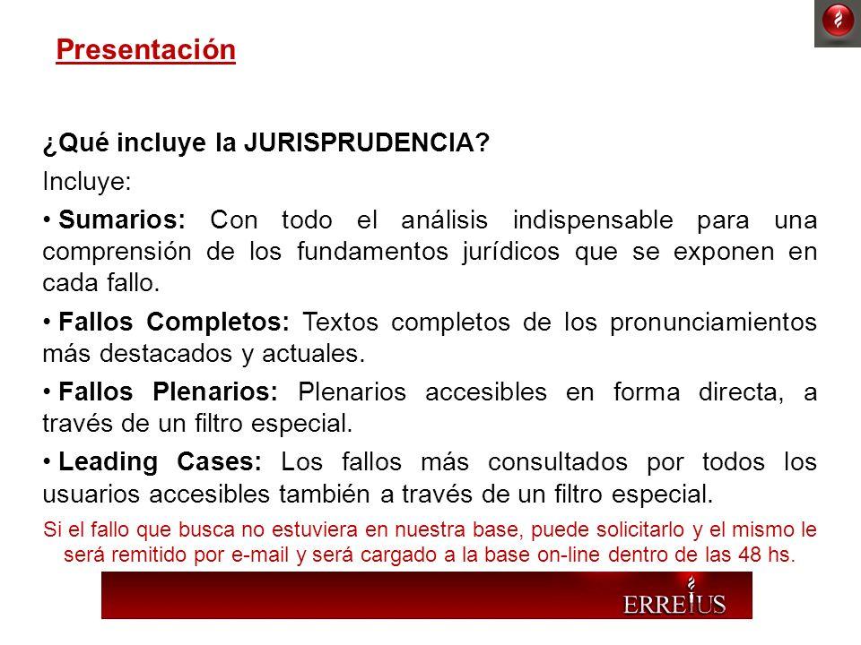 ¿Qué incluye la JURISPRUDENCIA? Incluye: Sumarios: Con todo el análisis indispensable para una comprensión de los fundamentos jurídicos que se exponen