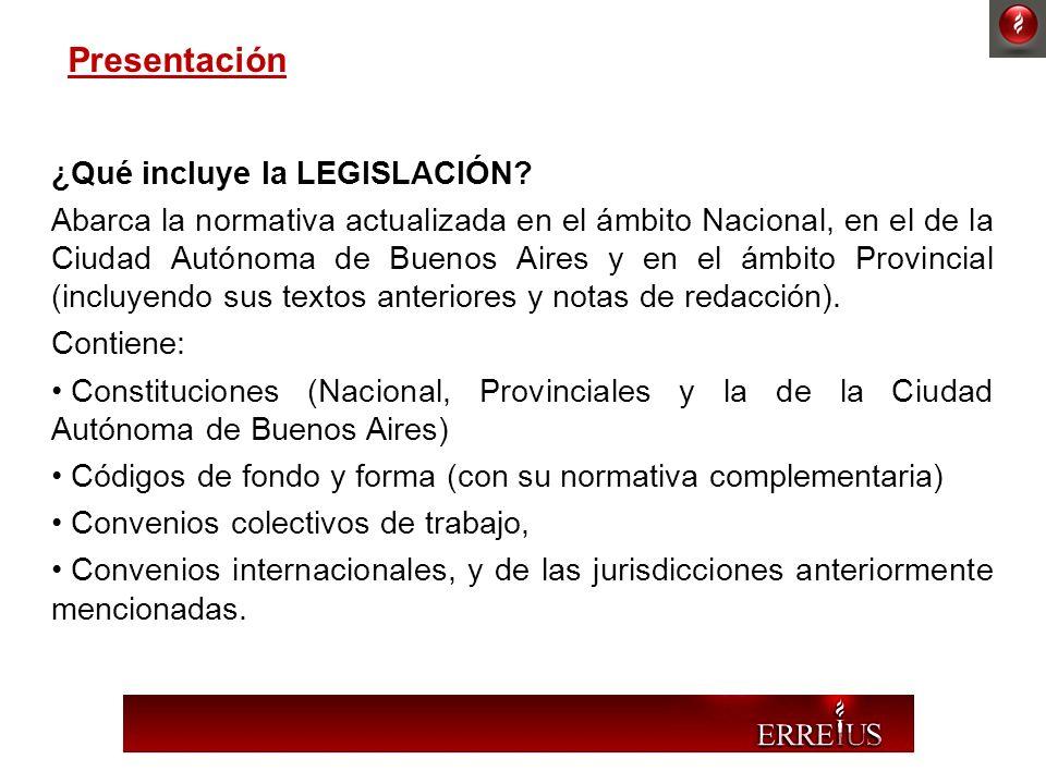 ¿Qué incluye la LEGISLACIÓN? Abarca la normativa actualizada en el ámbito Nacional, en el de la Ciudad Autónoma de Buenos Aires y en el ámbito Provinc
