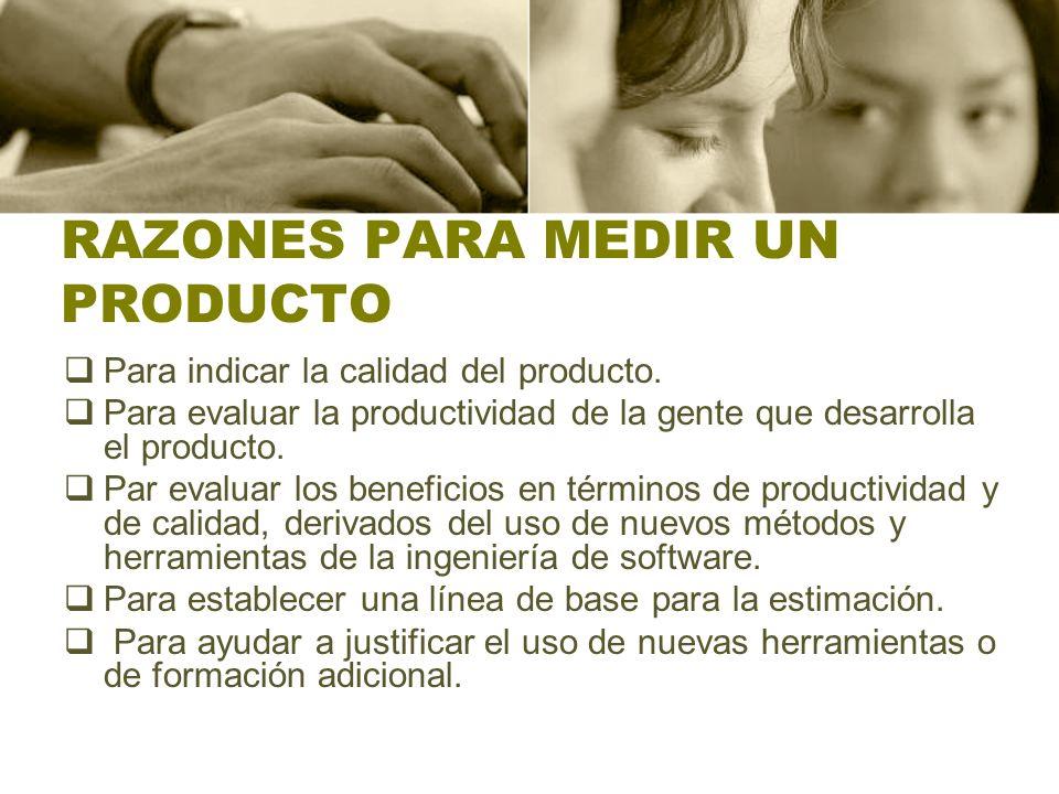 RAZONES PARA MEDIR UN PRODUCTO Para indicar la calidad del producto. Para evaluar la productividad de la gente que desarrolla el producto. Par evaluar