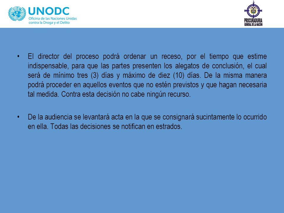 El director del proceso podrá ordenar un receso, por el tiempo que estime indispensable, para que las partes presenten los alegatos de conclusión, el