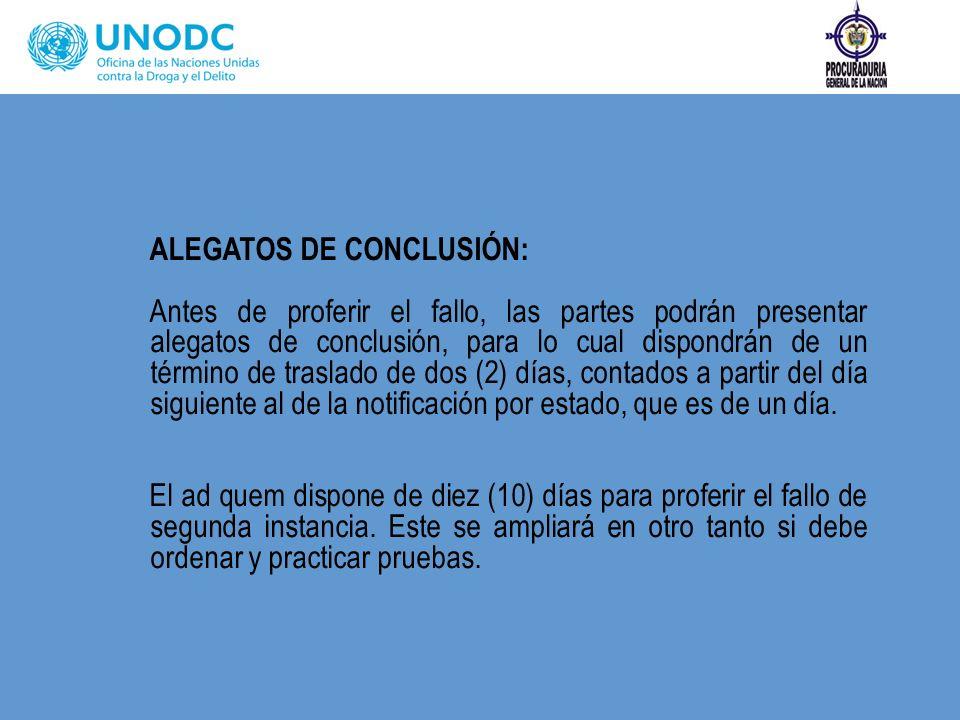 ALEGATOS DE CONCLUSIÓN: Antes de proferir el fallo, las partes podrán presentar alegatos de conclusión, para lo cual dispondrán de un término de trasl