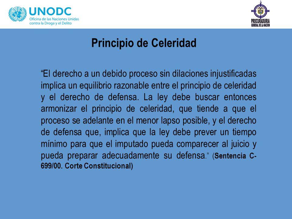 Principio de Celeridad El derecho a un debido proceso sin dilaciones injustificadas implica un equilibrio razonable entre el principio de celeridad y