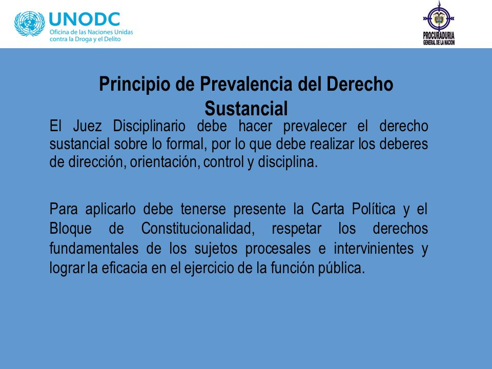 Principio de Prevalencia del Derecho Sustancial El Juez Disciplinario debe hacer prevalecer el derecho sustancial sobre lo formal, por lo que debe rea