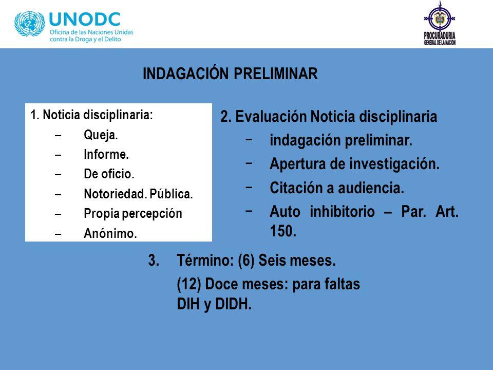 1. Noticia disciplinaria: – Queja. – Informe. – De oficio. – Notoriedad. Pública. – Propia percepción – Anónimo. 2. Evaluación Noticia disciplinaria i