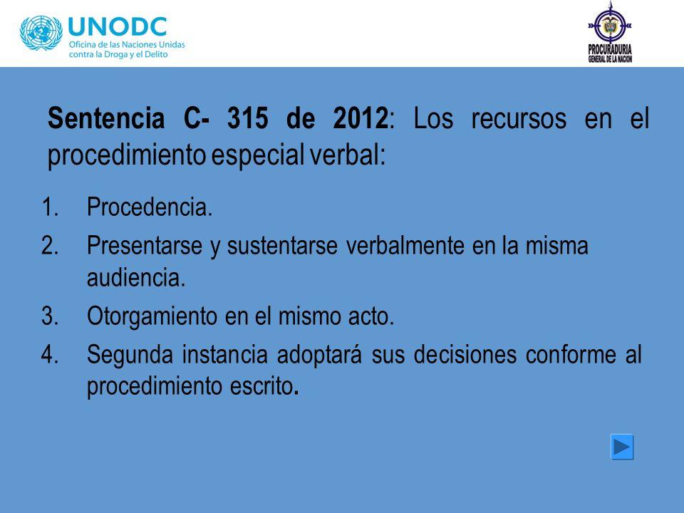 Sentencia C- 315 de 2012 : Los recursos en el procedimiento especial verbal: 1.Procedencia. 2.Presentarse y sustentarse verbalmente en la misma audien