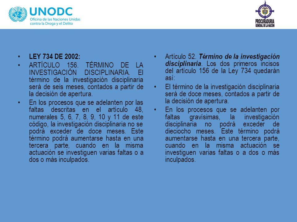 LEY 734 DE 2002: ARTÍCULO 156. TÉRMINO DE LA INVESTIGACIÓN DISCIPLINARIA. El término de la investigación disciplinaria será de seis meses, contados a