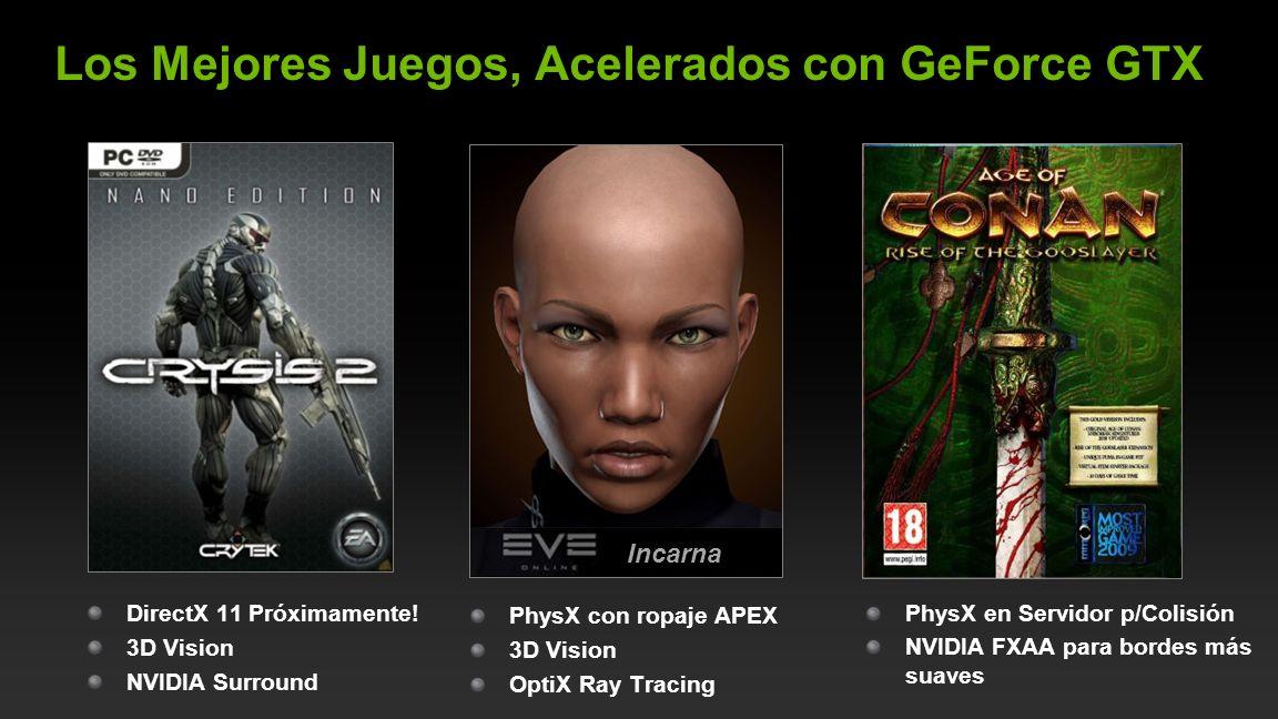 NVIDIA Confidential Los Mejores Juegos, Acelerados con GeForce GTX PhysX con ropaje APEX 3D Vision OptiX Ray Tracing DirectX 11 Próximamente! 3D Visio