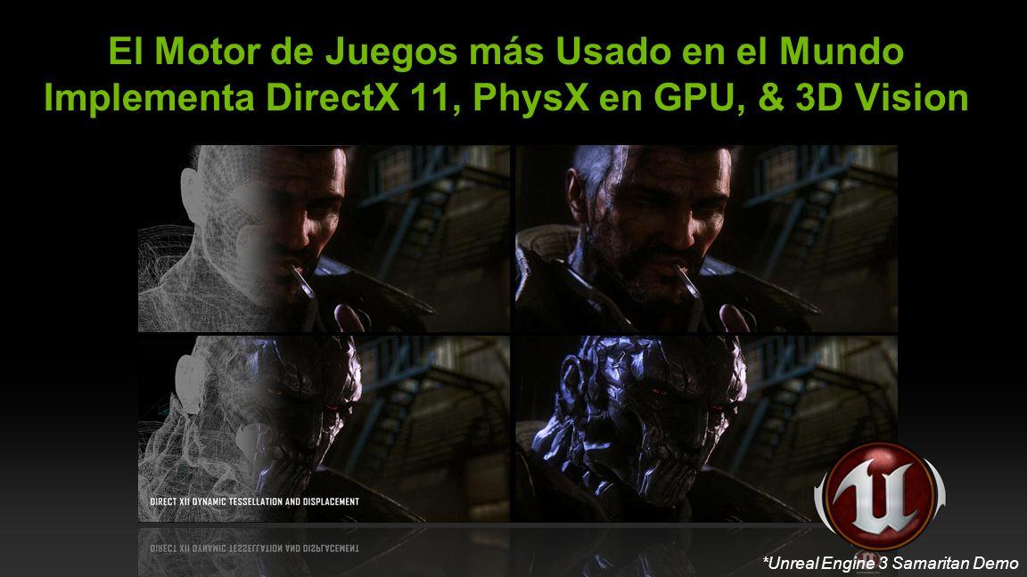 NVIDIA Confidential CryENGINE ® 3 El Motor de Juegos más Usado en el Mundo Implementa DirectX 11, PhysX en GPU, & 3D Vision *Unreal Engine 3 Samaritan Demo