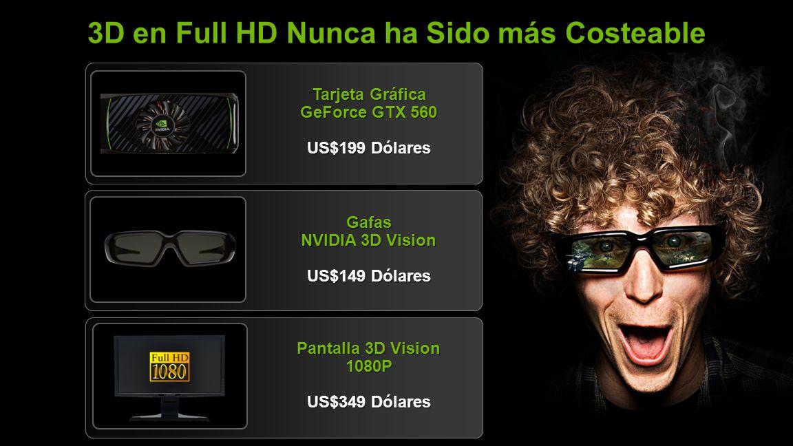 NVIDIA Confidential 3D en Full HD Nunca ha Sido más Costeable Tarjeta Gráfica GeForce GTX 560 US$199 Dólares Gafas NVIDIA 3D Vision US$149 Dólares Pantalla 3D Vision 1080P US$349 Dólares