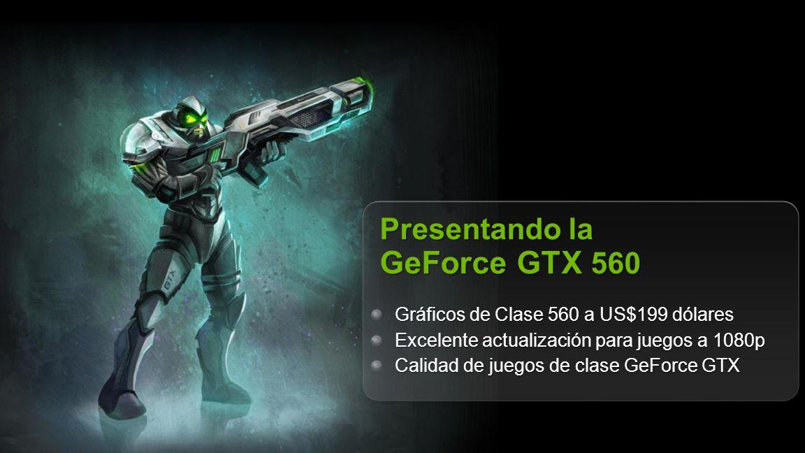 NVIDIA Confidential Presentando la GeForce GTX 560 Gráficos de Clase 560 a US$199 dólares Excelente actualización para juegos a 1080p Calidad de juego