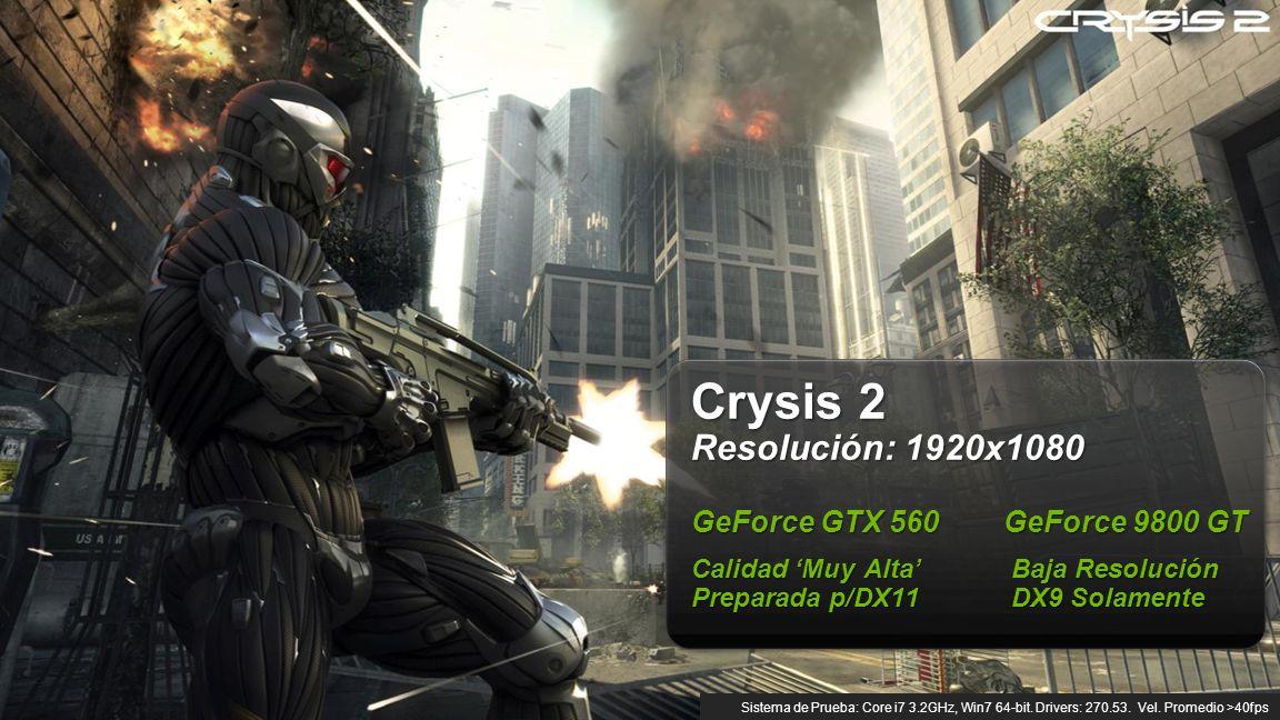 © NVIDIA Confidential – Do Not Distribute 7 Crysis 2 Resolución: 1920x1080 GeForce GTX 560 GeForce 9800 GT Calidad Muy Alta Baja Resolución Preparada p/DX11DX9 Solamente Sistema de Prueba: Core i7 3.2GHz, Win7 64-bit.