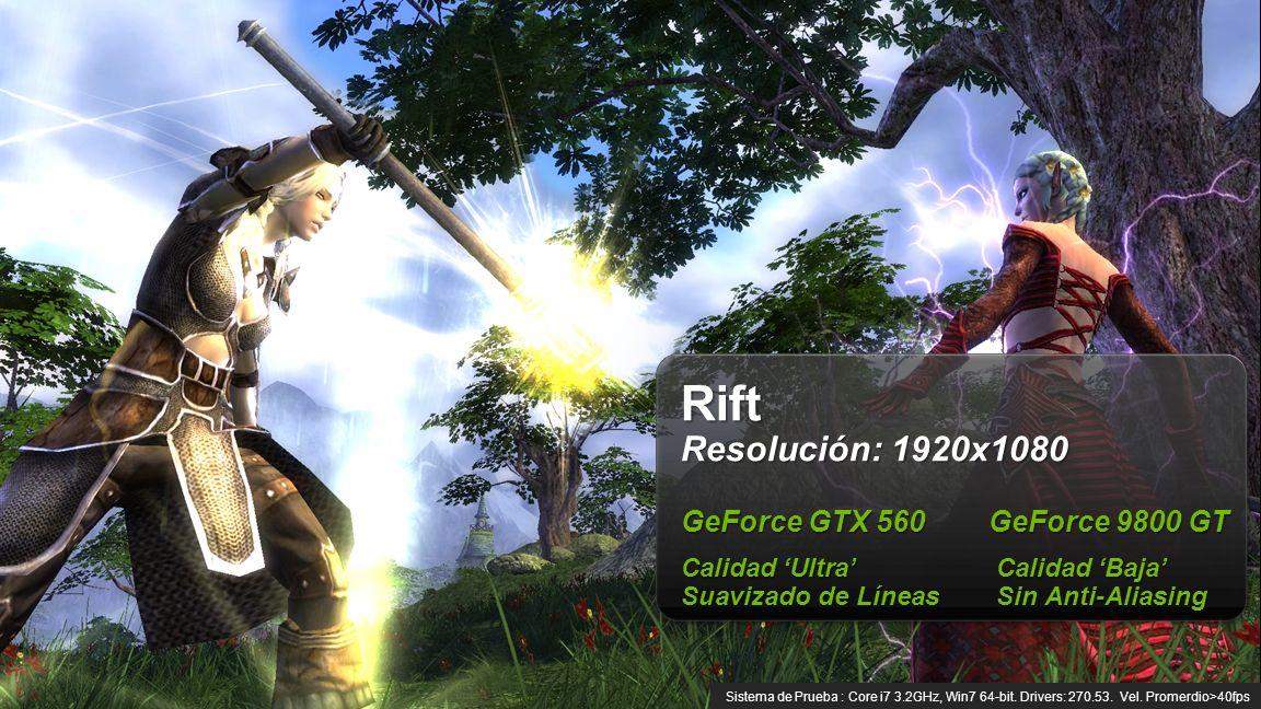 © NVIDIA Confidential – Do Not Distribute 8 Rift Resolución: 1920x1080 GeForce GTX 560 GeForce 9800 GT Calidad Ultra Calidad Baja Suavizado de LíneasSin Anti-Aliasing Sistema de Prueba : Core i7 3.2GHz, Win7 64-bit.