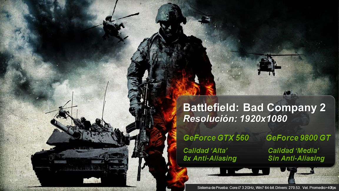 © NVIDIA Confidential – Do Not Distribute 9 Battlefield: Bad Company 2 Resolución: 1920x1080 GeForce GTX 560 GeForce 9800 GT Calidad AltaCalidad Media 8x Anti-AliasingSin Anti-Aliasing Sistema de Prueba: Core i7 3.2GHz, Win7 64-bit.