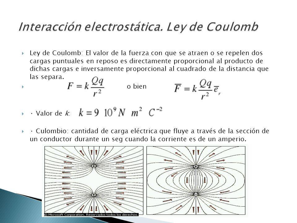 Ley de Coulomb: El valor de la fuerza con que se atraen o se repelen dos cargas puntuales en reposo es directamente proporcional al producto de dichas