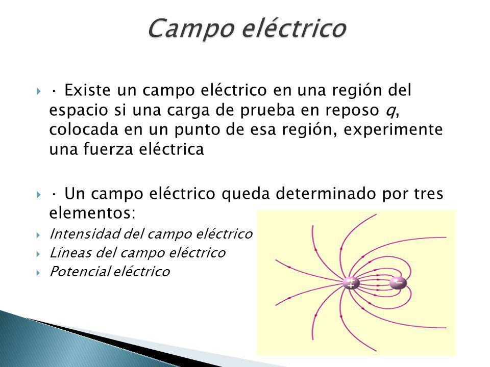 · Existe un campo eléctrico en una región del espacio si una carga de prueba en reposo q, colocada en un punto de esa región, experimente una fuerza e