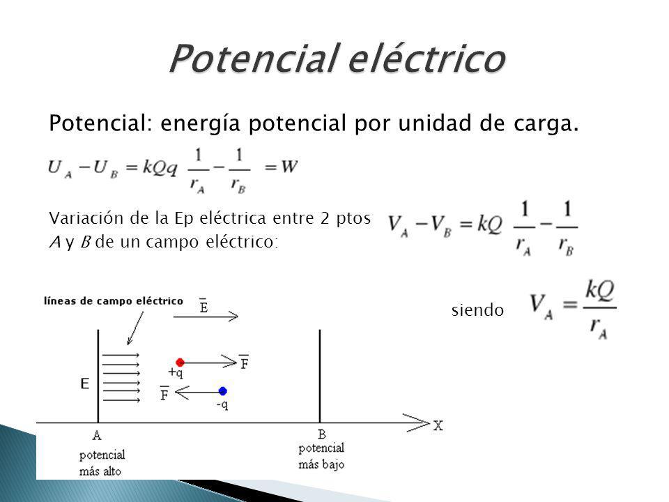 Potencial: energía potencial por unidad de carga. Variación de la Ep eléctrica entre 2 ptos A y B de un campo eléctrico: siendo