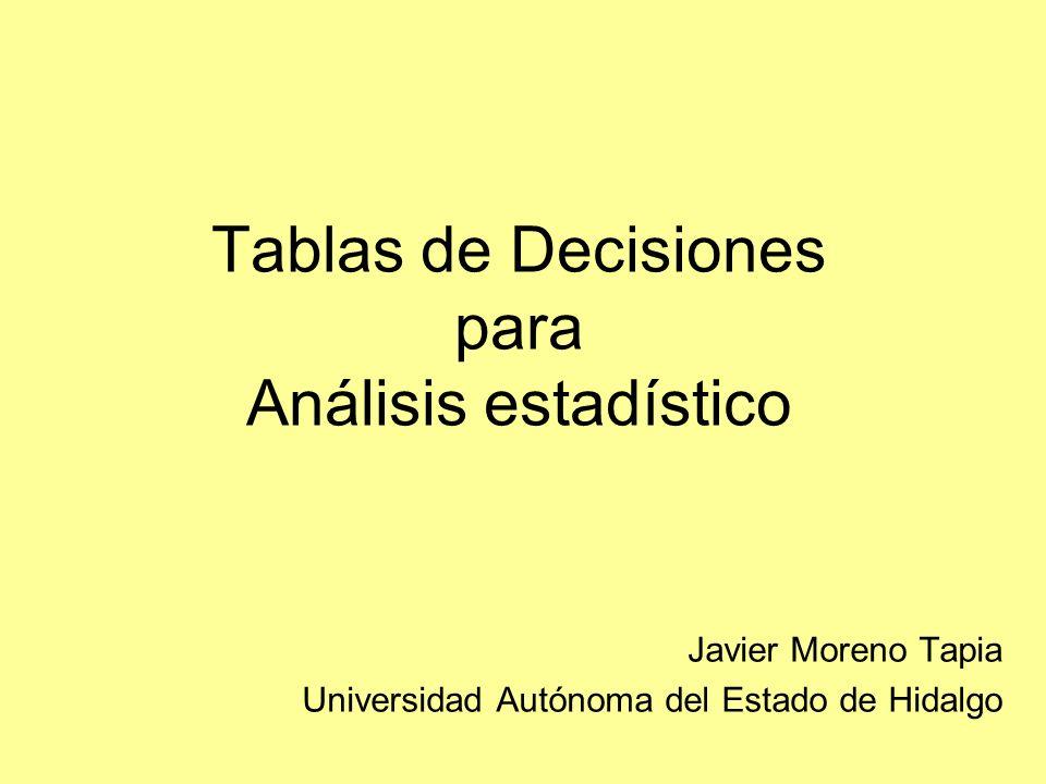 Tablas de Decisiones para Análisis estadístico Javier Moreno Tapia Universidad Autónoma del Estado de Hidalgo
