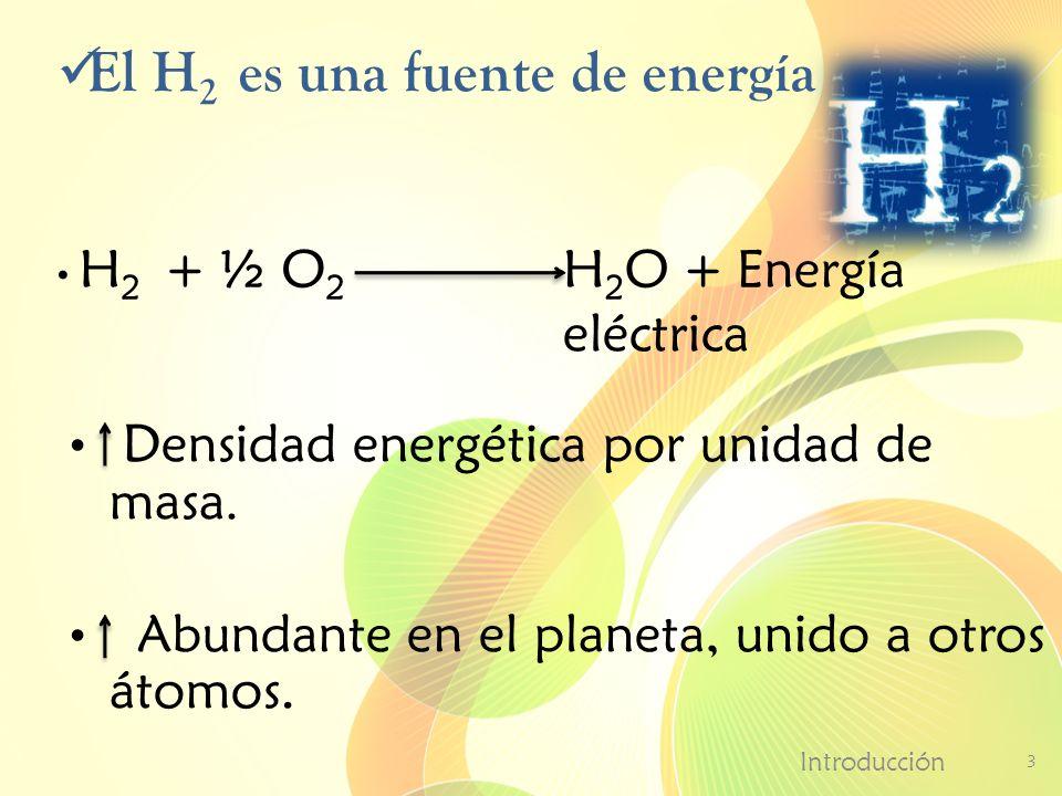 El H 2 es una fuente de energía Introducción 3 Densidad energética por unidad de masa. Abundante en el planeta, unido a otros átomos. H 2 O + Energía
