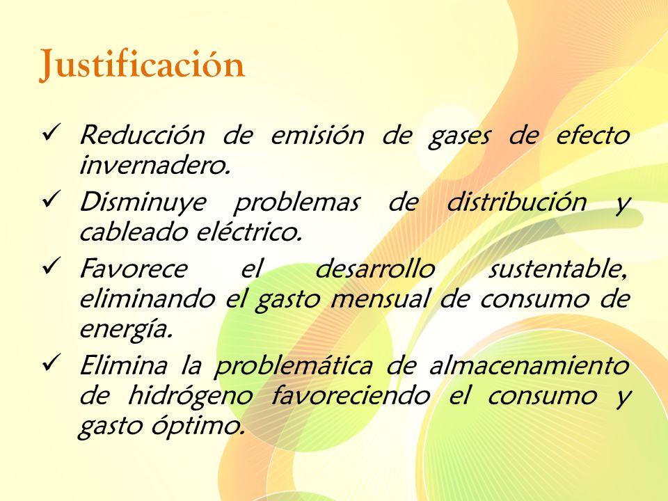 Justificación Reducción de emisión de gases de efecto invernadero. Disminuye problemas de distribución y cableado eléctrico. Favorece el desarrollo su