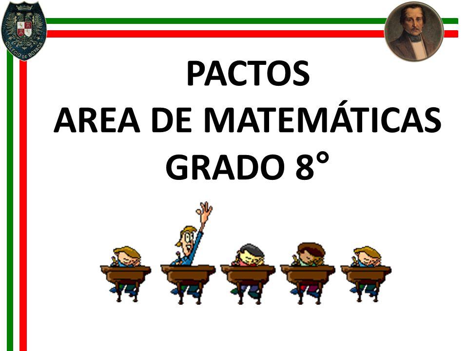 PACTOS AREA DE MATEMÁTICAS GRADO 8°