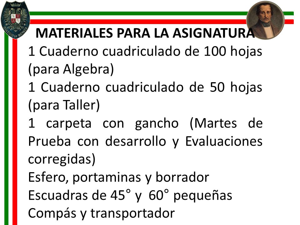MATERIALES PARA LA ASIGNATURA 1 Cuaderno cuadriculado de 100 hojas (para Algebra) 1 Cuaderno cuadriculado de 50 hojas (para Taller) 1 carpeta con ganc