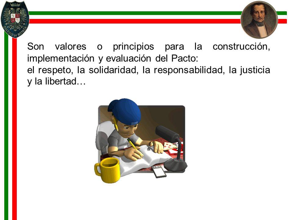 Son valores o principios para la construcción, implementación y evaluación del Pacto: el respeto, la solidaridad, la responsabilidad, la justicia y la