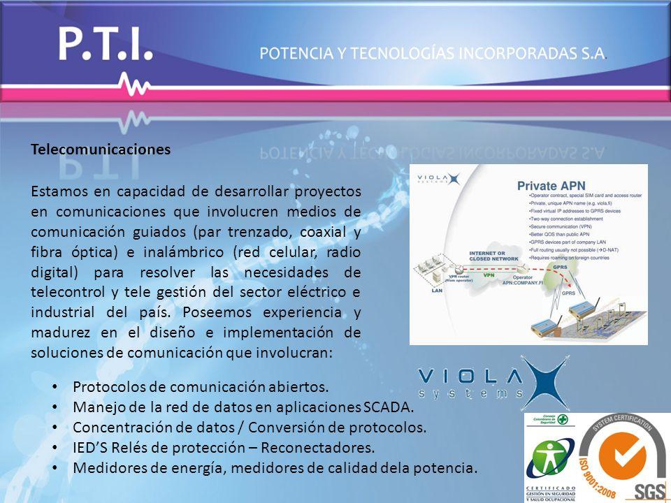 Telecomunicaciones Estamos en capacidad de desarrollar proyectos en comunicaciones que involucren medios de comunicación guiados (par trenzado, coaxia
