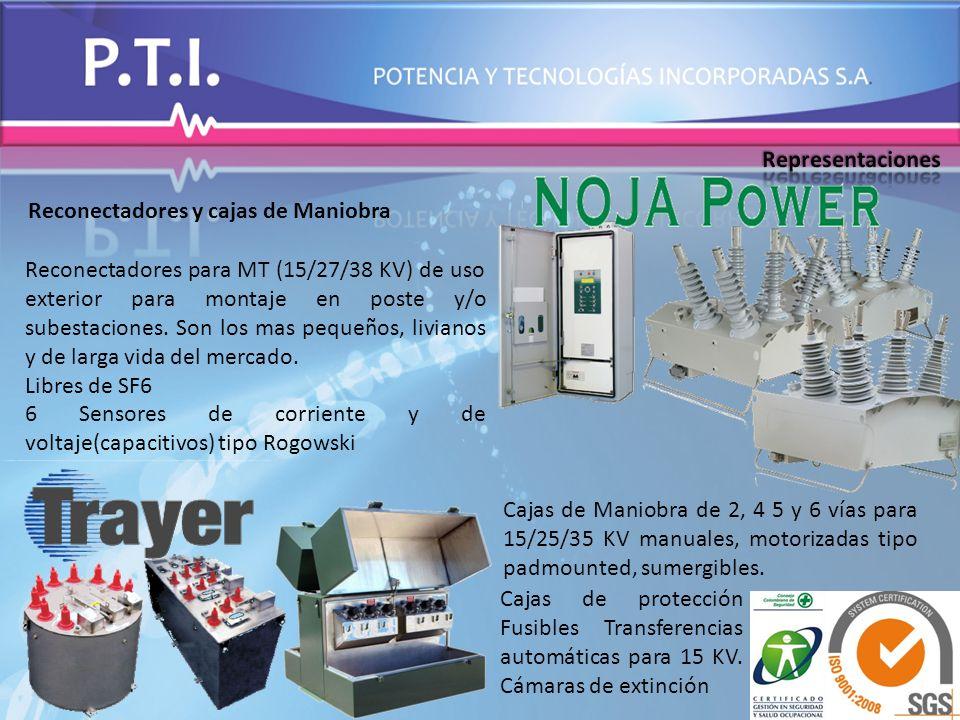 Reconectadores y cajas de Maniobra Reconectadores para MT (15/27/38 KV) de uso exterior para montaje en poste y/o subestaciones. Son los mas pequeños,