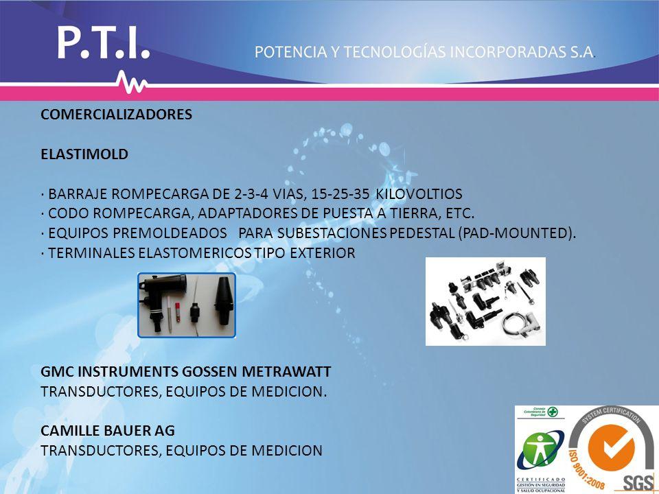 COMERCIALIZADORES ELASTIMOLD · BARRAJE ROMPECARGA DE 2-3-4 VIAS, 15-25-35 KILOVOLTIOS · CODO ROMPECARGA, ADAPTADORES DE PUESTA A TIERRA, ETC. · EQUIPO