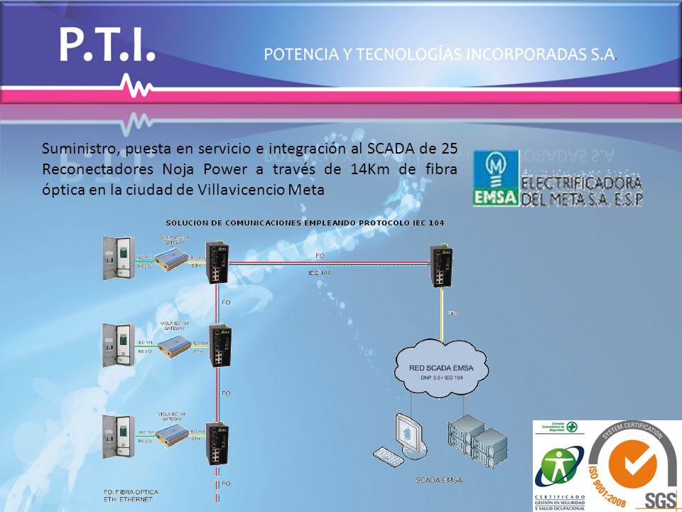 Suministro, puesta en servicio e integración al SCADA de 25 Reconectadores Noja Power a través de 14Km de fibra óptica en la ciudad de Villavicencio M