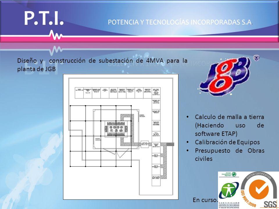 Diseño y construcción de subestación de 4MVA para la planta de JGB Calculo de malla a tierra (Haciendo uso de software ETAP) Calibración de Equipos Pr