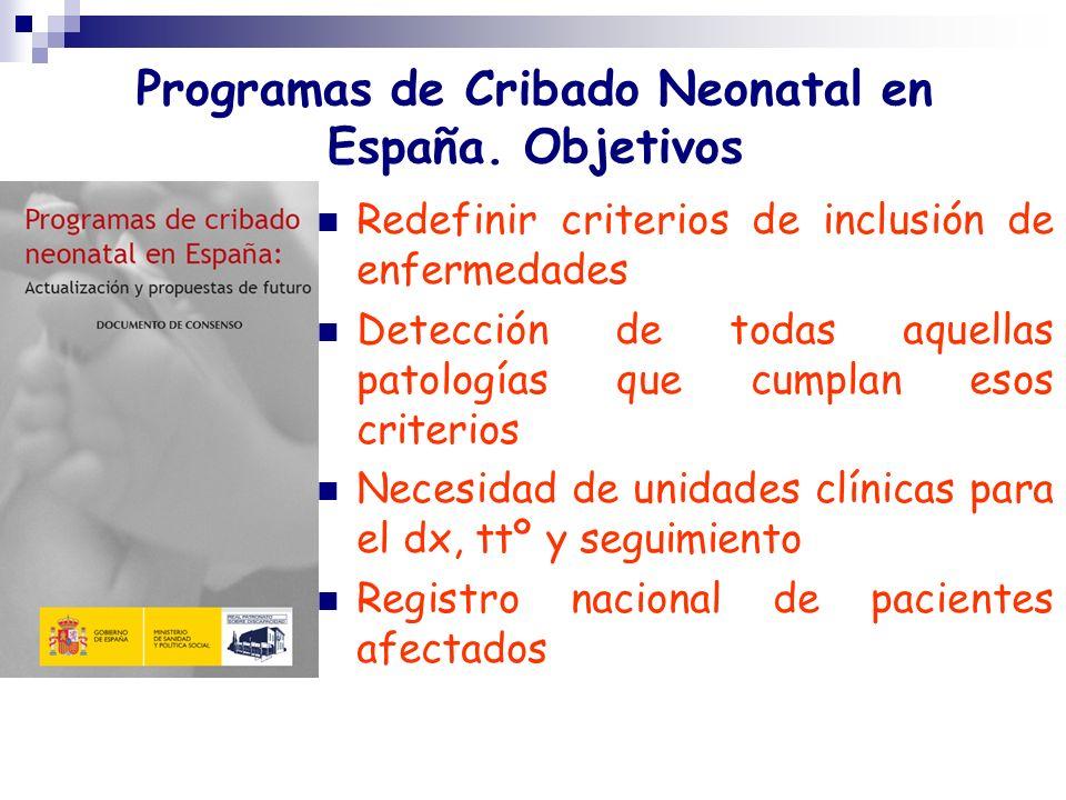 Programas de Cribado Neonatal en España. Objetivos Redefinir criterios de inclusión de enfermedades Detección de todas aquellas patologías que cumplan