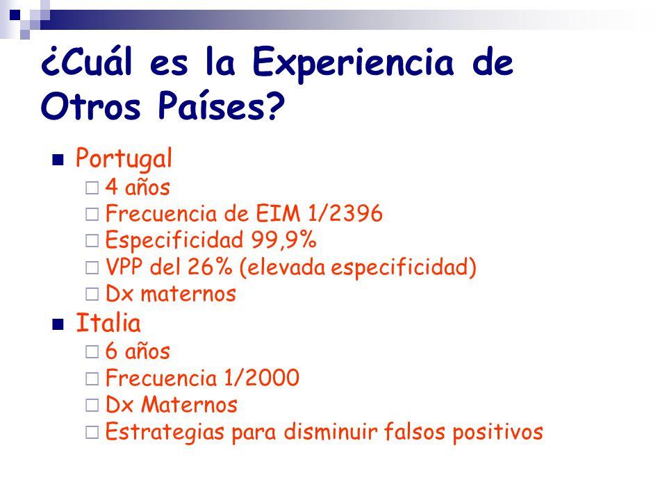 ¿Cuál es la Experiencia de Otros Países? Portugal 4 años Frecuencia de EIM 1/2396 Especificidad 99,9% VPP del 26% (elevada especificidad) Dx maternos