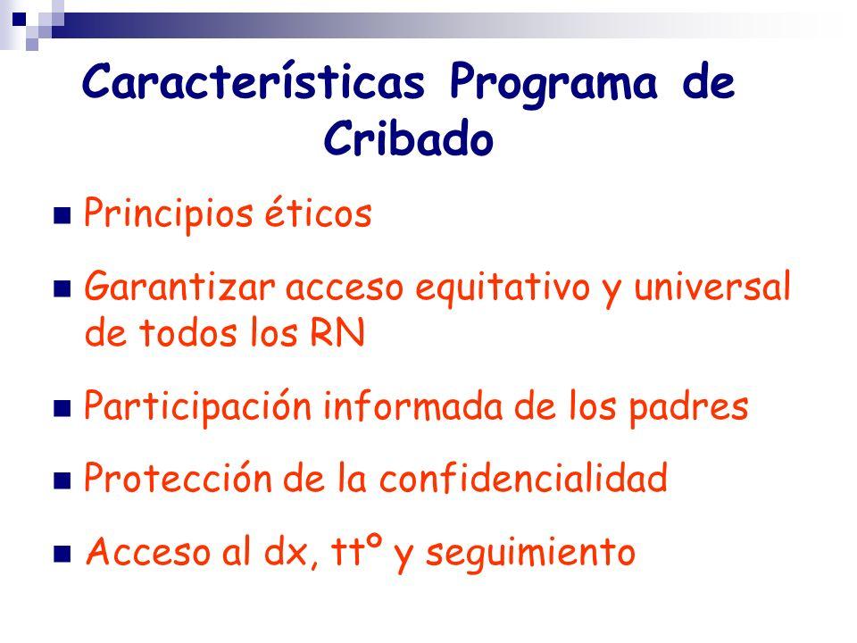 Características Programa de Cribado Principios éticos Garantizar acceso equitativo y universal de todos los RN Participación informada de los padres P