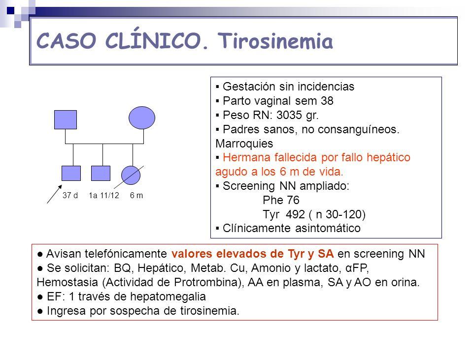 CASO CLÍNICO. Tirosinemia Gestación sin incidencias Parto vaginal sem 38 Peso RN: 3035 gr. Padres sanos, no consanguíneos. Marroquies Hermana fallecid