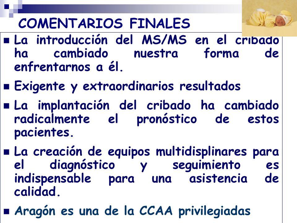 COMENTARIOS FINALES La introducción del MS/MS en el cribado ha cambiado nuestra forma de enfrentarnos a él. Exigente y extraordinarios resultados La i
