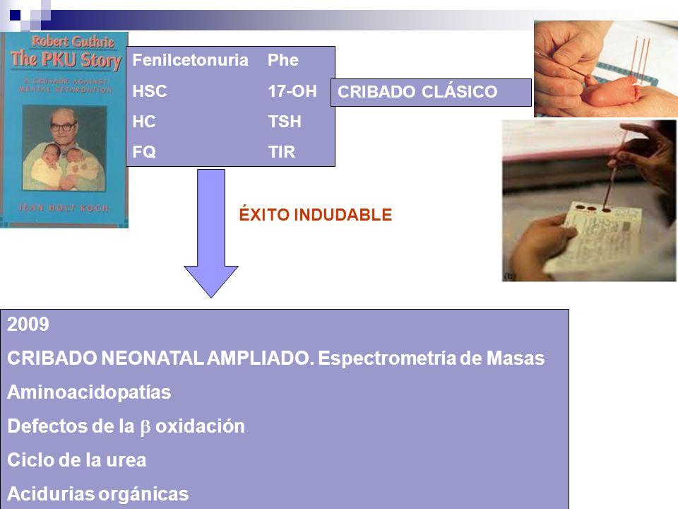 ÉXITO INDUDABLE FenilcetonuriaPhe HSC17-OH HCTSH FQTIR CRIBADO CLÁSICO 2009 CRIBADO NEONATAL AMPLIADO. Espectrometría de Masas Aminoacidopatías Defect