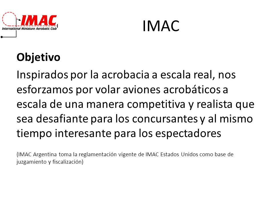 IMAC Objetivo Inspirados por la acrobacia a escala real, nos esforzamos por volar aviones acrobáticos a escala de una manera competitiva y realista qu