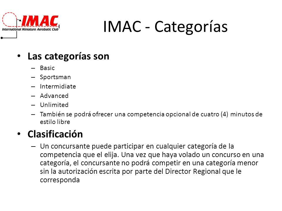 IMAC - Categorías Las categorías son – Basic – Sportsman – Intermidiate – Advanced – Unlimited – También se podrá ofrecer una competencia opcional de