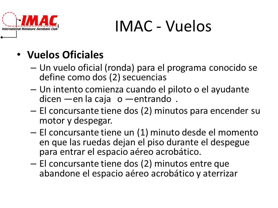 IMAC - Vuelos Vuelos Oficiales – Un vuelo oficial (ronda) para el programa conocido se define como dos (2) secuencias – Un intento comienza cuando el