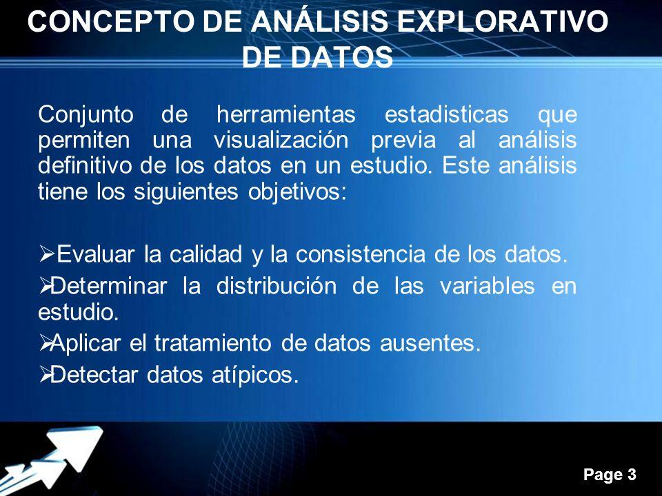 Powerpoint Templates Page 3 CONCEPTO DE ANÁLISIS EXPLORATIVO DE DATOS Conjunto de herramientas estadisticas que permiten una visualización previa al análisis definitivo de los datos en un estudio.