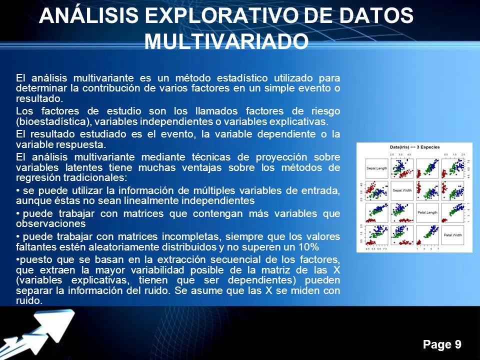 Powerpoint Templates Page 9 ANÁLISIS EXPLORATIVO DE DATOS MULTIVARIADO El análisis multivariante es un método estadístico utilizado para determinar la contribución de varios factores en un simple evento o resultado.