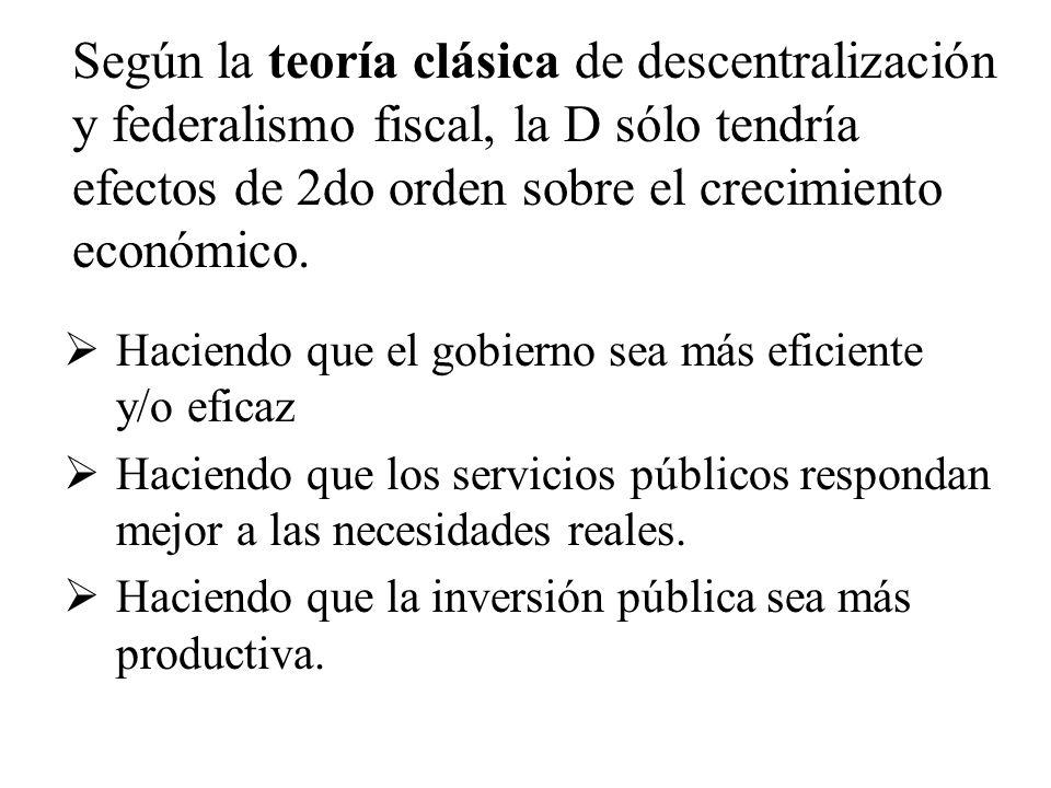 Pero la teoría del Federalismo Fiscal de Segunda Generación (Weingast 2012) propone que la descentralización puede además limitar el poder del gobierno, creando autoridades independientes que defienden sus potestades.