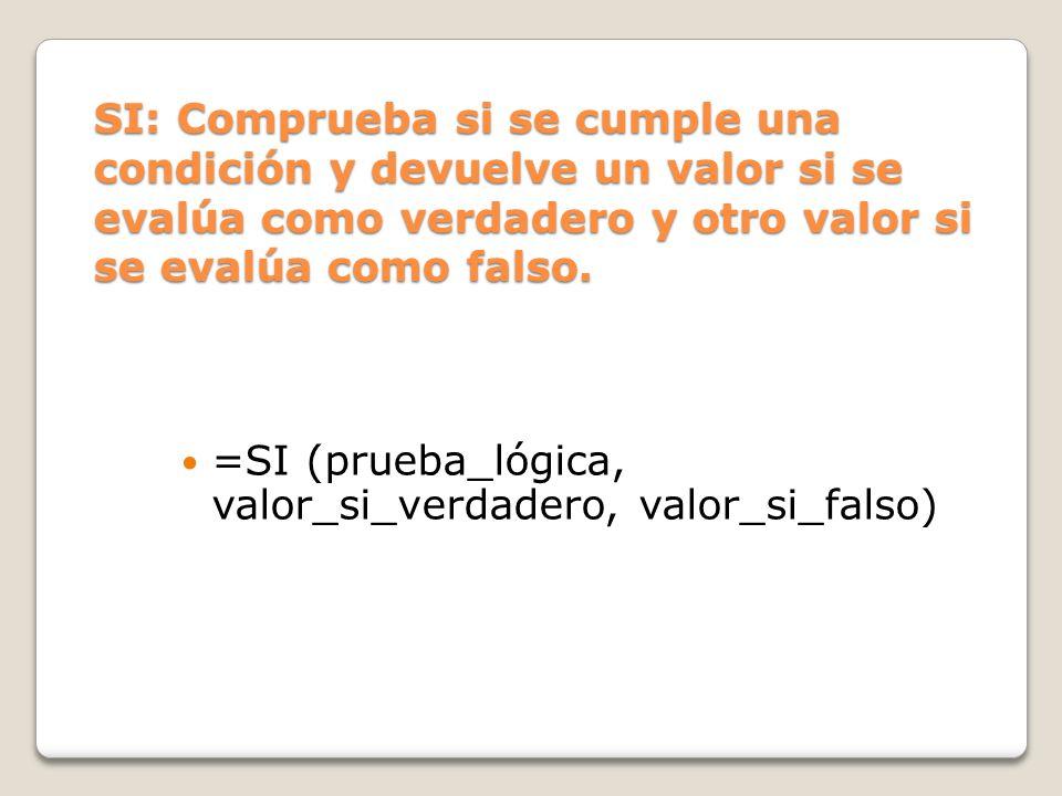 SI: Comprueba si se cumple una condición y devuelve un valor si se evalúa como verdadero y otro valor si se evalúa como falso.