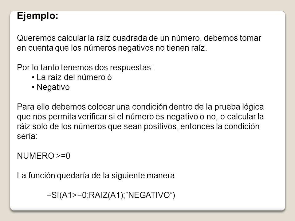 Ejemplo: Queremos calcular la raíz cuadrada de un número, debemos tomar en cuenta que los números negativos no tienen raíz.