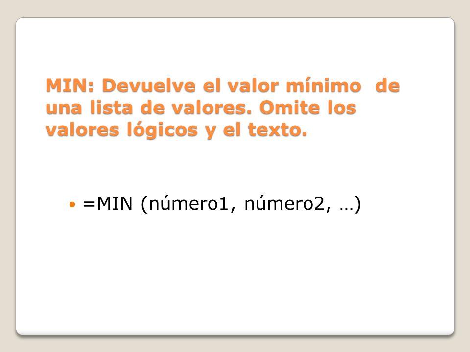 MIN: Devuelve el valor mínimo de una lista de valores.