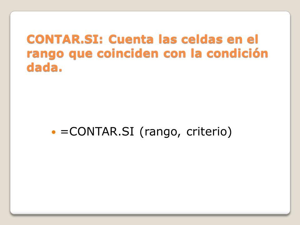 CONTAR.SI: Cuenta las celdas en el rango que coinciden con la condición dada.